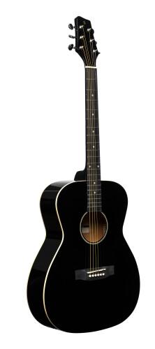 Guitare auditorium avec table en tilleul, de couleur noire