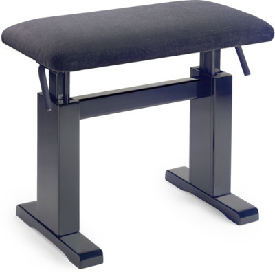 Matt black hydraulic piano bench with fireproof black velvet top