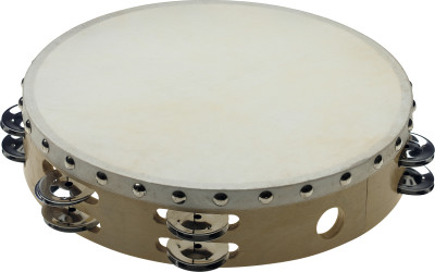 "10"" pre-tuned wooden tambourine with rivetted head and 2 rows of jingles"