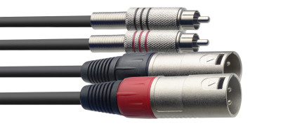 Twin cable, XLR/RCA (m/m), 3 m (10')