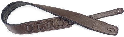 Dark brown padded leatherette guitar strap