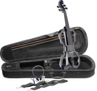 4/4 elektrische-vioolset met zwarte viool, soft case en hoofdtelefoon