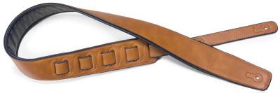 Honey-coloured padded leatherette guitar strap