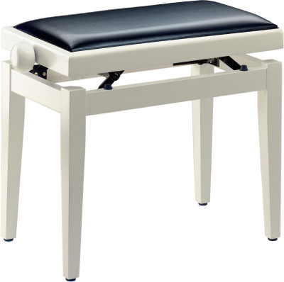 Highgloss white piano bench with black vinyl top