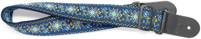 Woven nylon guitar strap with blue Jimi pattern