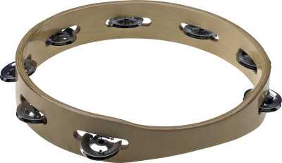 "10"" headless wooden tambourine with 1 row of jingles"