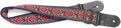 Woven nylon guitar strap with red Jimi pattern