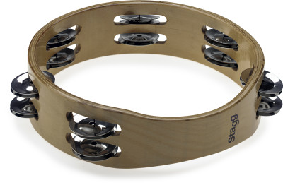 "8"" headless wooden tambourine with 2 rows of jingles"