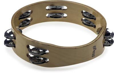 """Tambourin en bois sans peau 8"""", 2 rangées de cymbalettes"""