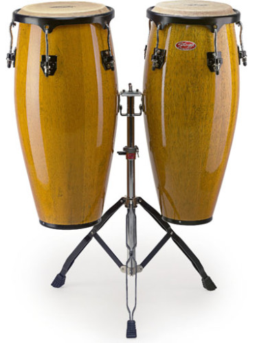 "10"" + 11"" wooden congas + adjustable double stand"