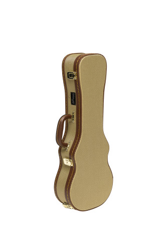 Vintage-style series gold tweed deluxe hardshell case for concert ukulele