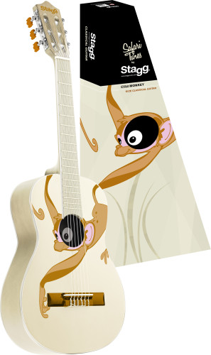 Classical guitar with monkey graphic