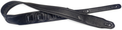Black padded leatherette guitar strap with a triangular end