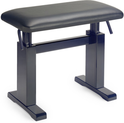 Matt black hydraulic piano bench with fireproof black leather top