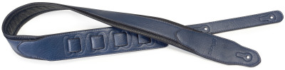 Blue padded leatherette guitar strap with a triangular end