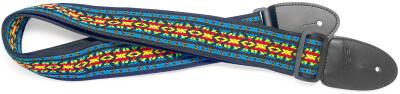 Woven nylon guitar strap with rainbow 2 Hootenanny pattern