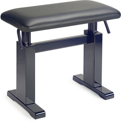 Highgloss black hydraulic piano bench with fireproof black leather top