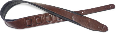 Brown padded leatherette guitar strap with a triangular end
