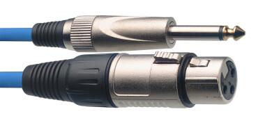 Câble de microphone XLR/jack (f/m), 3 m, bleu