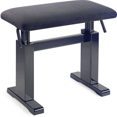 Highgloss black hydraulic piano bench with fireproof black velvet top