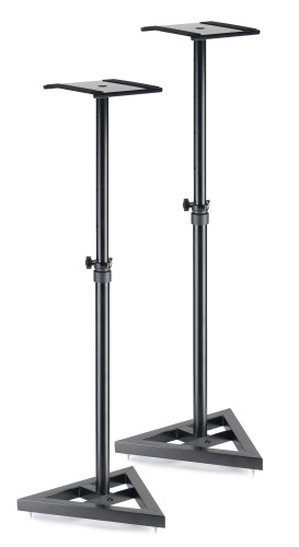 Two, height-adjustable, steel studio monitor or light stands