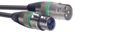 Microphone cable, XLR/XLR (m/f), 1 m (3'), green ring