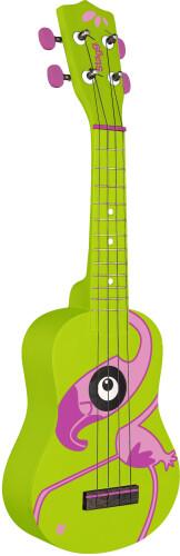 Traditional soprano ukulele with flamingo graphic, in black nylon gigbag