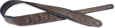 Dark brown padded leatherette guitar strap with a triangular end