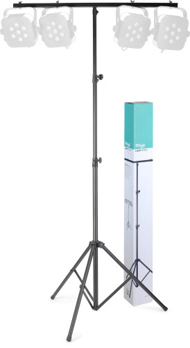 Height adjustable light stand with folding legs