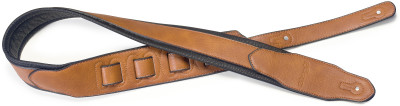 Honey-coloured padded leatherette guitar strap with a triangular end