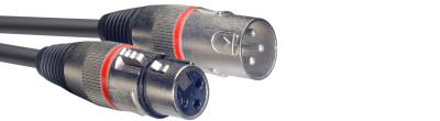 Câble de microphone XLR/XLR (m/f), 1 m, anneau rouge