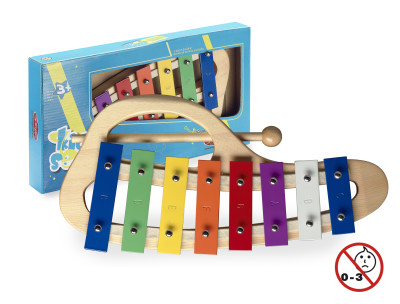 Curved metallophone with 8 colour-coded keys