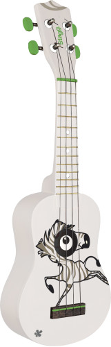 Traditional soprano ukulele with zebra graphic, in black nylon gigbag