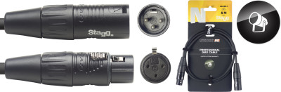 DMX cable, XLR/XLR (m/f) (3 pins), 5 m (16'), N-series
