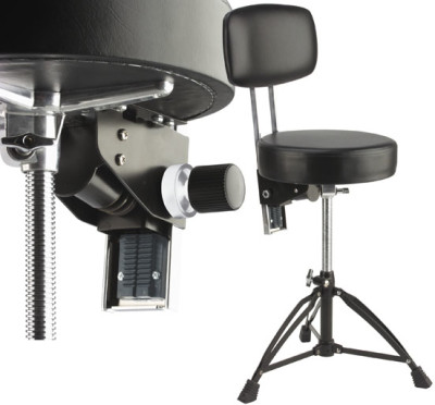 Professional double-braced adjustable drum throne with backrest