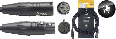 DMX-kabel, 3-pins XLR/XLR (m/v), 10 m, N-serie