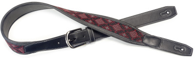 Black leatherette guitar strap with black and red woven diamonds