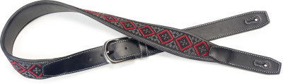 Black leatherette guitar strap with black and red woven squares