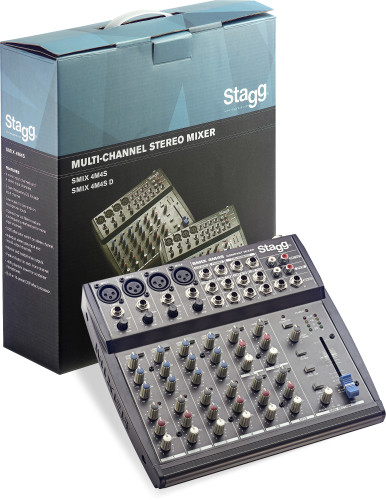 Multi-channel stereo mixer with 2-4 mono & 2-4 stereo input channels