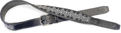 Black leatherette guitar strap with black and white woven zigzags
