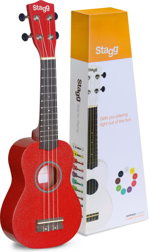 Red soprano ukulele with basswood top, in nylon gigbag