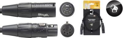 DMX cable, XLR/XLR (m/f) (5 pins), 1 m (3'), N-series