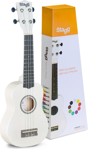 White soprano ukulele with basswood top, in nylon gigbag