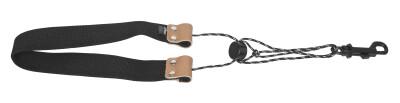 Fully-adjustable GoodGroove saxophone strap with soft shoulder padding, black