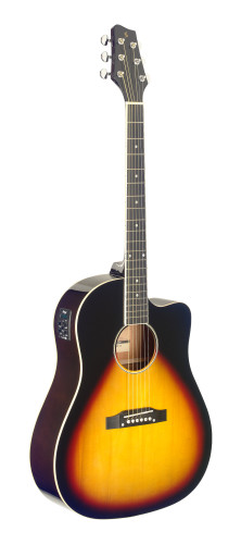 Guitare dreadnought Slope Shoulder électro-acoustique, pan coupé, sunburst
