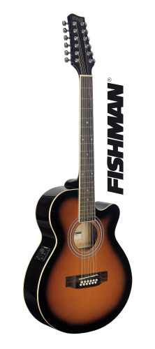 Guitare électro-acoustique, mini-jumbo pan coupé, avec EQ Fishman