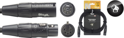 DMX cable, XLR/XLR (m/f) (5 pins), 5 m (16'), N-series