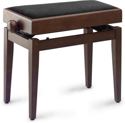 Matt piano bench, walnut colour, with spare case and black fireproof velvet top