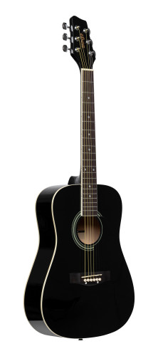 3/4 black dreadnought acoustic guitar with basswood top