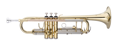 Bb trumpet, ML-bore, leadpipe in gold brass, with soft case